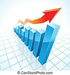그래프, 성장, 막대기, 사업, 3차원