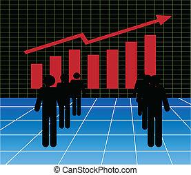 그래프, 시장, 주식