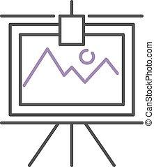 그래프, 와, 2, 은 일렬로 세운다, 통하고 있는, whiteboard, flipchart, 아이콘, 비즈니스 프리젠테이션, 벡터, illustration.