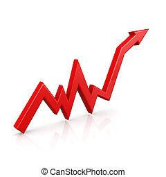 그래프, 위로의, 빨강 화살