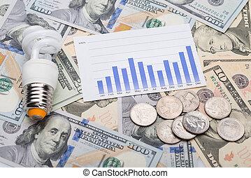 그래프, 은 화폐로 주조한다, 달러 계산서, 전구