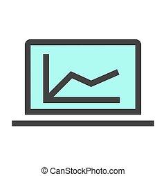그래프, 전시에, 벡터, icon., 하이 테크, 와..., 사업, topics.