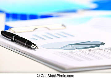 그래프, 펜, 감시, 시장, 주식