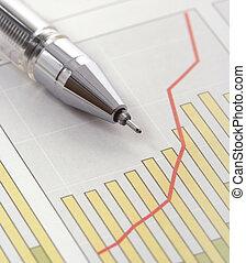 그래프, 펜, 소득, 긍정적인