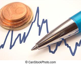 그래프, 펜, 유러, 은 화폐로 주조한다