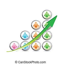 그래프, arrow., 사업, 성공, 사람