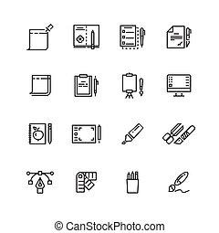 그래픽 디자인, 와..., 쓰기, 도구, 선, 아이콘, 세트