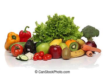 그룹, 건강한, 야채, 고립된, 상쾌한, 백색