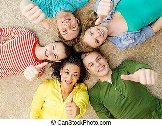 그룹, 바닥, 사람, 아래로의, 미소, 있는 것