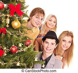 그룹, 사람, 얼마 만큼, 크리스마스, 나무.