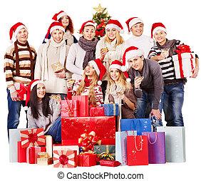 그룹, 사람, 와..., 크리스마스, 나무.