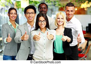 그룹, 사업, 위로 주는, 쾌활한, 엄지손가락