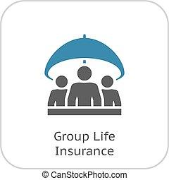 그룹, 생명 보험, icon., 바람 빠진 타이어, design.