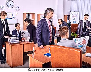그룹, 실업가, 에서, 사무실.