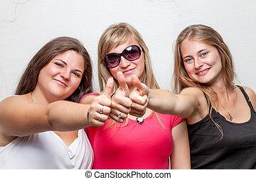 그룹, 위로 주는, 엄지손가락, 친구, 행복하다