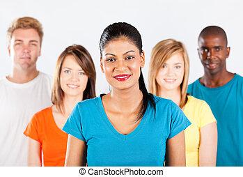 그룹, 의, 다민족이다, 사람, 백색 위에서