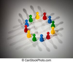 그룹, 의, 다색, 사람, 에, 대리하다, 친목회, 네트워크, 다양성, 문화적인 멀티, 사회, 팀 일,...
