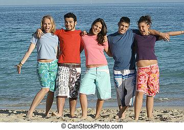 그룹, 의, 다양한, 학생, 통하고 있는, 여름, 또는, 봄방학, 휴일, 또는, 휴가, 바닷가에
