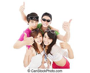 그룹, 의, 여름, 젊은이, 와, 위로 엄지손가락