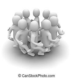 그룹, 의, 특성, 댄스, around., 3차원, 표현된다, illustration.