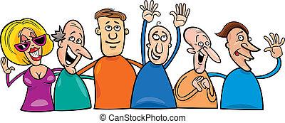 그룹, 의, 행복하다, 사람
