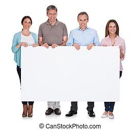 그룹, 의, 행복하다, 사람, 보유, 플래카드