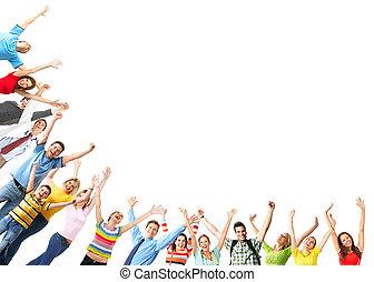 그룹, 의, 행복하다, 사람.