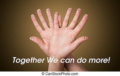 그룹, 의, 행복하다, 손가락, smileys