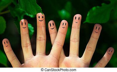 그룹, 의, 행복하다, 손가락, smileys, 에서, 자연