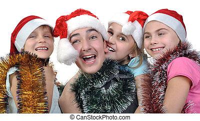 그룹, 의, 행복하다, 아이들, 크리스마스를 거행하는 것