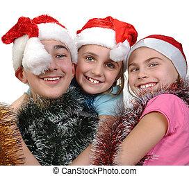 그룹, 의, 행복하다, 친구, 크리스마스를 거행하는 것
