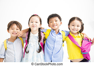 그룹, 의, 행복해 미소 짓는 것, 키드 구두, 서 있는, 함께