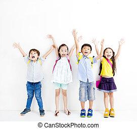 그룹, 의, 행복해 미소 짓는 것, 키드 구두, 증가, 손