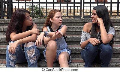 그룹, 의, 10대, 소녀, 착석
