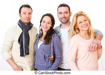 그룹, 의, 4, 나이 적은 편의, 인력이 있는, 사람, 통하고 있는, a, 백색 배경