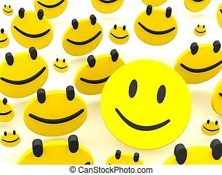 그룹, 의, smileys., 3차원, 표현된다, 삽화, 고립된, 통하고 있는, white.