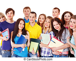 그룹, 학생, 와, 노트북, isolated.