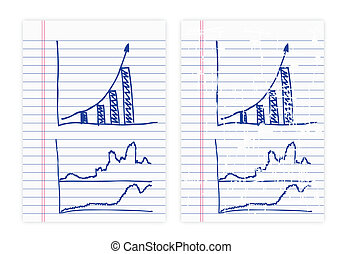 그림, 사업, 그래프, 통하고 있는, 종이
