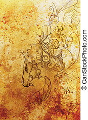 그림, 의, 꾸밈이다, 동물, 통하고 있는, 늙은, 종이, 배경, 와..., 세피아, 색, structure.