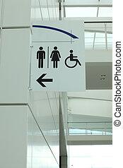 그림, 의, a, 화장실, 표시