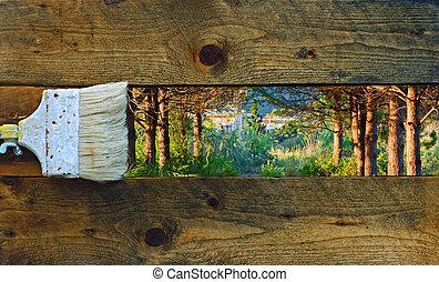 그림, 자연, 통하고 있는, 늙은, 목판