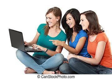 그만큼, 그룹, 의, 소녀, 와, 휴대용 퍼스널 컴퓨터