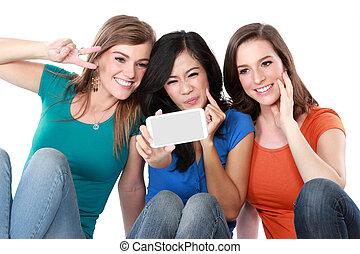 그만큼, 그룹, 의, 행복하다, 소녀, selfie, 와, a, handphone