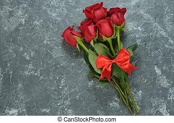 그만큼, 꽃다발, 의, 빨간 장미