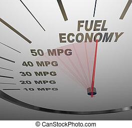 그만큼, 낱말, 연료, 경제, 통하고 있는, a, 차량, 속도계, 와, a, 빨강, 바늘, 경주, 과거,...