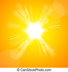 그만큼, 밝은, 노란 태양
