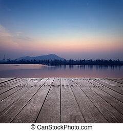 그만큼, 보이는 상태, 의, 호수, 와, 일몰