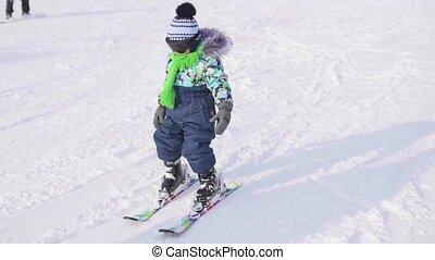 그만큼, 아이, 은 배운다, 에, 스키, 와, 자형의 것, instructor., 스키, resort.,...