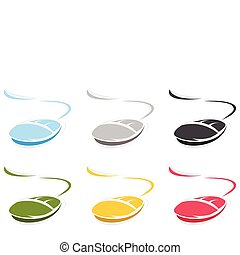 그만큼, 컴퓨터 마우스, 의, 파랑, colour., a, 벡터, 삽화