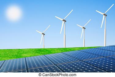그물, 에너지, 의, 그만큼, 태양, 와..., 바람